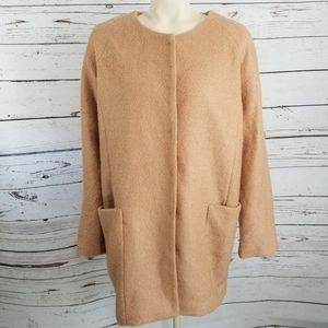 NWT FOREVER 21 TAN wool COAT LIGHT WEIGHT L